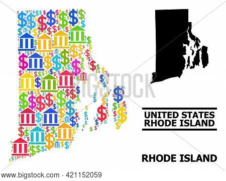 Bright Colored Financial And Business Mosaic And Solid Map Of Rhode Island State. Map Of Rhode Islan