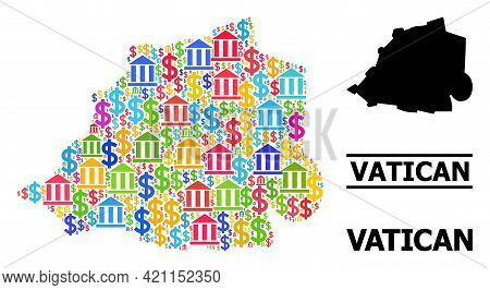 Vibrant Bank And Dollar Mosaic And Solid Map Of Vatican. Map Of Vatican Vector Mosaic For Business C