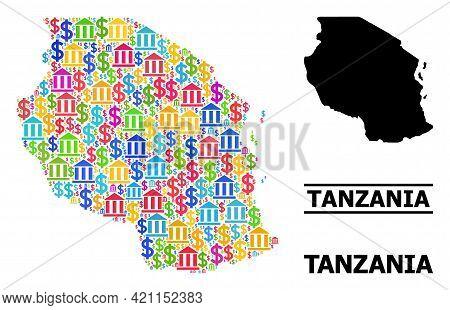 Bright Colored Bank And Dollar Mosaic And Solid Map Of Tanzania. Map Of Tanzania Vector Mosaic For G