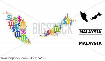 Colored Bank And Business Mosaic And Solid Map Of Malaysia. Map Of Malaysia Vector Mosaic For Busine