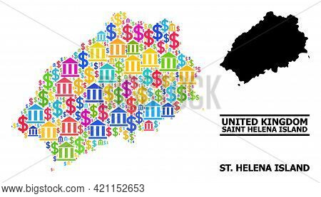 Bright Colored Bank And Money Mosaic And Solid Map Of Saint Helena Island. Map Of Saint Helena Islan
