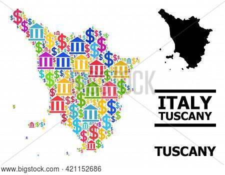 Multicolored Bank And Dollar Mosaic And Solid Map Of Tuscany Region. Map Of Tuscany Region Vector Mo