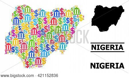 Colored Bank And Commerce Mosaic And Solid Map Of Nigeria. Map Of Nigeria Vector Mosaic For Advertis