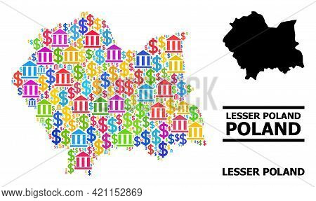 Multicolored Bank And Dollar Mosaic And Solid Map Of Lesser Poland Province. Map Of Lesser Poland Pr