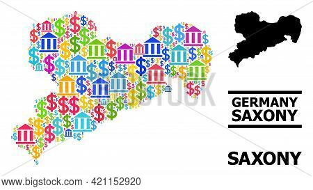 Vibrant Bank And Dollar Mosaic And Solid Map Of Saxony State. Map Of Saxony State Vector Mosaic For