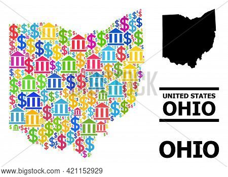 Bright Colored Bank And Dollar Mosaic And Solid Map Of Ohio State. Map Of Ohio State Vector Mosaic F