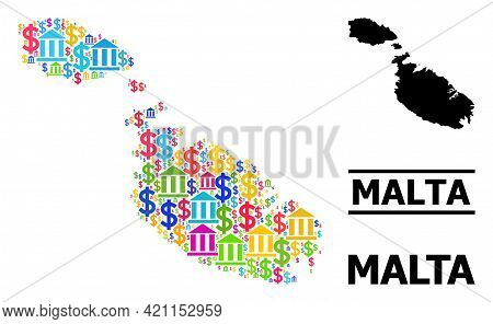 Bright Colored Bank And Commercial Mosaic And Solid Map Of Malta. Map Of Malta Vector Mosaic For Pro