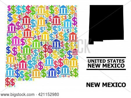 Bright Colored Bank And Dollar Mosaic And Solid Map Of New Mexico State. Map Of New Mexico State Vec