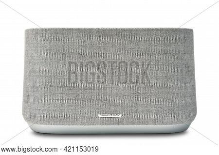 Stariy Oskol, Russia - May 19, 2021: Harman Kardon Modern Luxury Bluetooth Speaker With Voice Contro