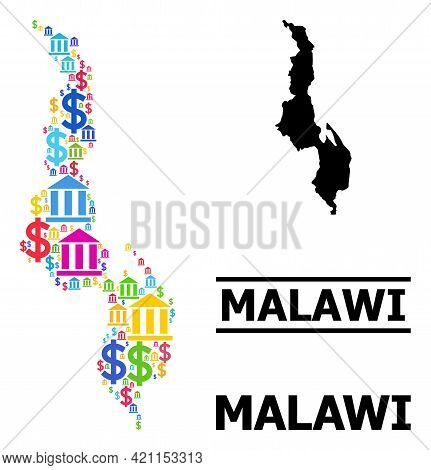Vibrant Bank And Dollar Mosaic And Solid Map Of Malawi. Map Of Malawi Vector Mosaic For Ads Campaign