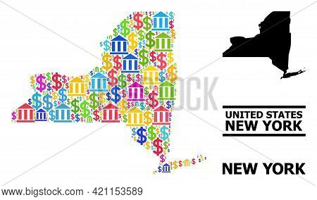 Bright Colored Financial And Money Mosaic And Solid Map Of New York State. Map Of New York State Vec