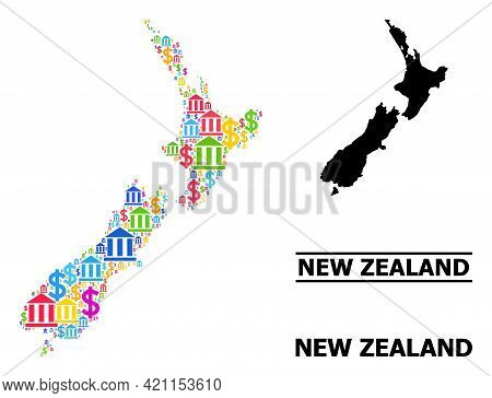 Bright Colored Financial And Dollar Mosaic And Solid Map Of New Zealand. Map Of New Zealand Vector M