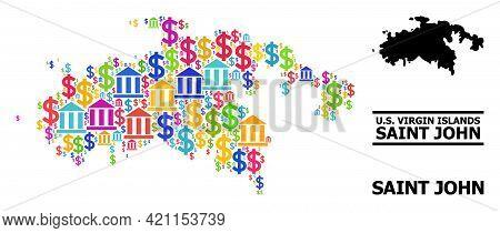 Bright Colored Bank And Dollar Mosaic And Solid Map Of Saint John Island. Map Of Saint John Island V
