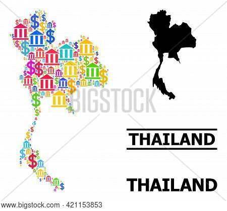 Bright Colored Financial And Economics Mosaic And Solid Map Of Thailand. Map Of Thailand Vector Mosa
