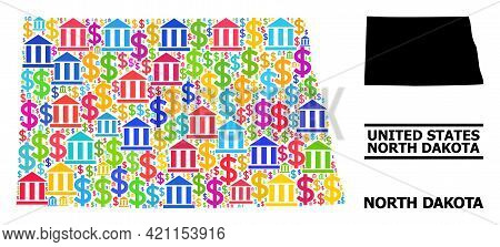 Multicolored Bank And Money Mosaic And Solid Map Of North Dakota State. Map Of North Dakota State Ve