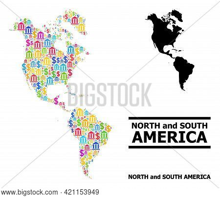 Colored Bank And Business Mosaic And Solid Map Of South And North America. Map Of South And North Am