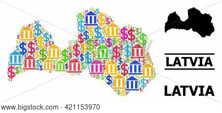 Colored Financial And Dollar Mosaic And Solid Map Of Latvia. Map Of Latvia Vector Mosaic For Promoti