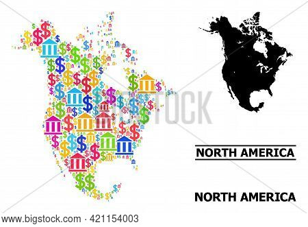 Colored Bank And Dollar Mosaic And Solid Map Of North America. Map Of North America Vector Mosaic Fo