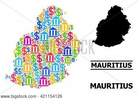 Bright Colored Financial And Dollar Mosaic And Solid Map Of Mauritius Island. Map Of Mauritius Islan