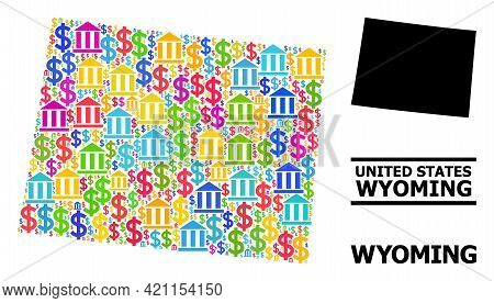Colored Bank And Money Mosaic And Solid Map Of Wyoming State. Map Of Wyoming State Vector Mosaic For