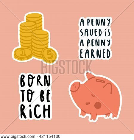 A Set Of Stickers About Childrens Financial Literacy. Pig Piggy Bank, Gold Coins And Financial Lette