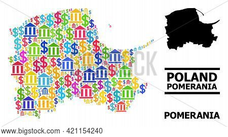 Bright Colored Bank And Commercial Mosaic And Solid Map Of Pomerania Province. Map Of Pomerania Prov