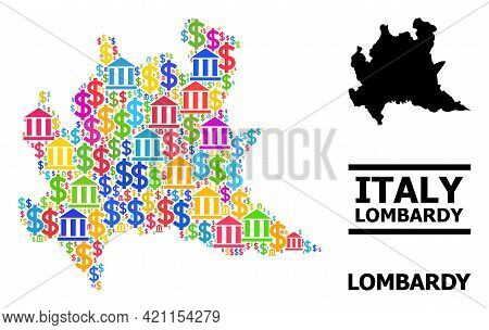 Colored Bank And Dollar Mosaic And Solid Map Of Lombardy Region. Map Of Lombardy Region Vector Mosai