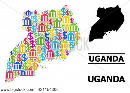 Multicolored Banking And Dollar Mosaic And Solid Map Of Uganda. Map Of Uganda Vector Mosaic For Geog