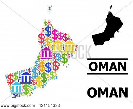 Colorful Banking And Commercial Mosaic And Solid Map Of Oman. Map Of Oman Vector Mosaic For Business