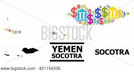 Vibrant Bank And Commerce Mosaic And Solid Map Of Socotra Archipelago. Map Of Socotra Archipelago Ve