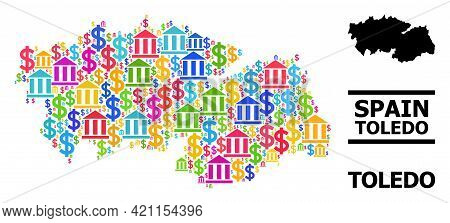 Multicolored Financial And Dollar Mosaic And Solid Map Of Toledo Province. Map Of Toledo Province Ve