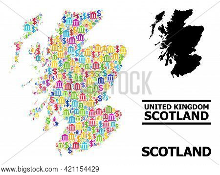 Colored Bank And Commerce Mosaic And Solid Map Of Scotland. Map Of Scotland Vector Mosaic For Advert