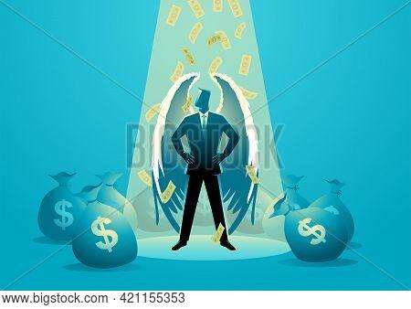 Business Concept Vector Illustration Of An Angel Businessman Standing Under Spotlight With Money Rai