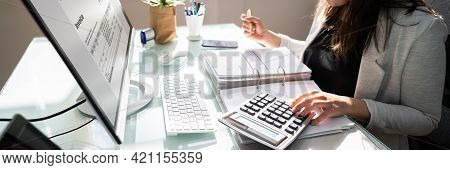 Professional Accountant Woman In Office. Finance Invoice Accounting
