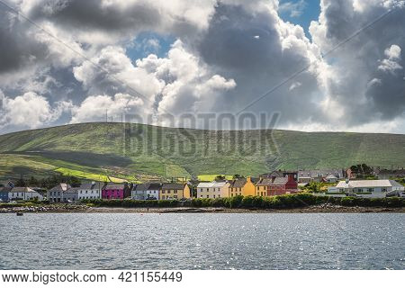 Colourful Houses In Portmagee Village, View From The Sea, Located At The Edge Of Atlantic Ocean, Rin