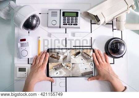 Watching Cctv Surveillance Devices And Alarm Detector System