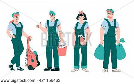 Cleaners And Janitors Staff Or Cleaning Service Team With Various Work Tools And Detergents, Cartoon