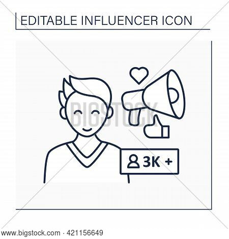 Micro Influencer Line Icon. Blogger With Three Thousand Plus Subscribes. Low Influence On People. Un