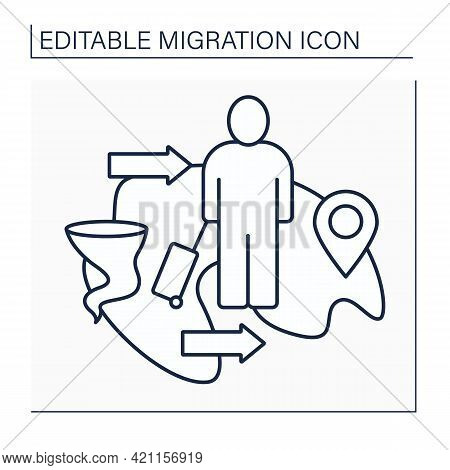 Climate Migration Line Icon. Moving Within Country Or Crossing Border. Movement Due Deterioration Of