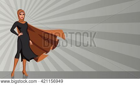 Full Length Illustration Of Determined And Powerful Middle Eastern Superheroine Wearing Hijab While