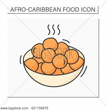 Afro-caribbean Food Color Icon. Puff-puff.deep Fried Dough.yeast Dough, Shaped Into Ball.local Food