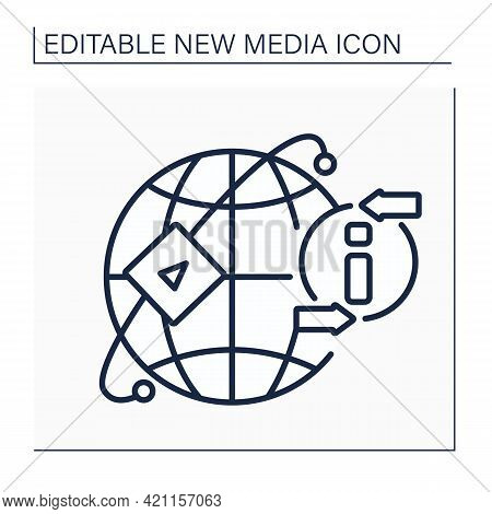 Media Sharing Networks Line Icon. Ability To Upload Photos, Video, Audio Content. Global Network. Sh