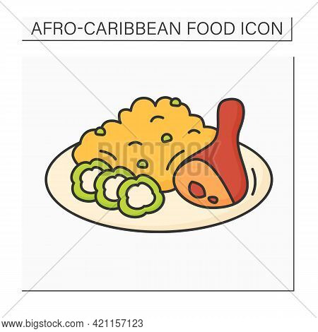 Afro-caribbean Food Color Icon. Jollof Rice And Fried Stewed Chicken. Local Food Concept. Isolated V