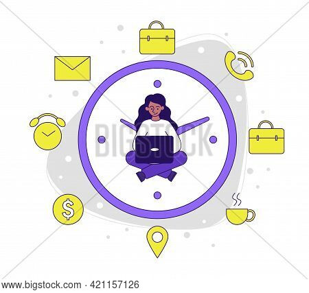 Female Character Is Working On Laptop In The Middle Of Clock. Woman Is Sitting And Suffering From Bu