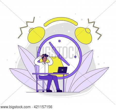 Male Character Is Working On Laptop With Clock Ringing At The Background. Man Is Sitting At Desk And