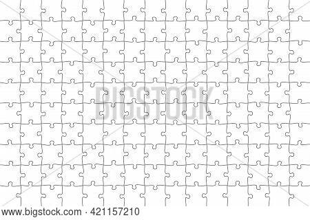Jigsaw Puzzle 15x10 Square Piece Template. Jigsaw Puzzle Grid Vector Stroke Scheme