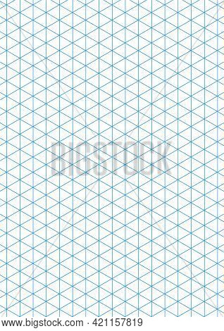Graph Paper. Printable Isometric Color Grid Paper With Color Lines. Geometric Background For School,