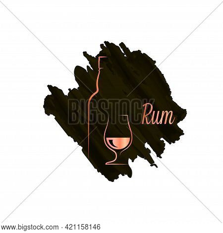 Rum Bottle With Rum Glass Watercolor Logo