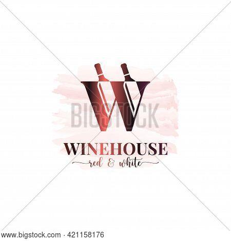 Wine Bottles Logo. Letter W Logo Watercolor Wine