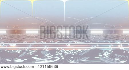 Full 360 Panorama Of Futuristic Exhibition Hall With Neon Lights And Product Showcase Podium Technol